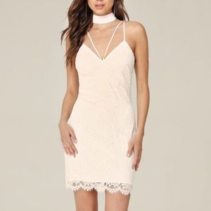 BEBE MARINA CHOCKER LACE SLIP DRESS